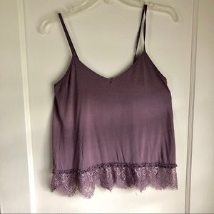 American Eagle Purple Lace Tank Top